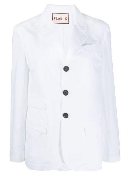 Белый пиджак оверсайз с карманами Plan C