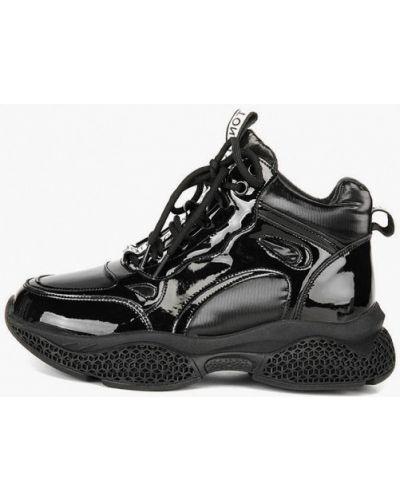 Лаковые кожаные черные высокие кроссовки Westfalika