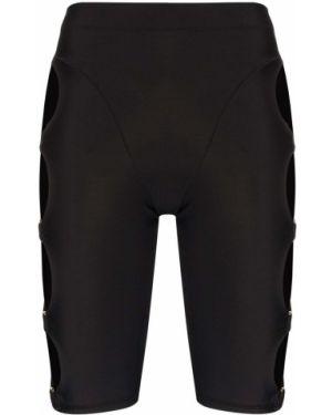 Однобортные нейлоновые черные спортивные шорты Adam Selman Sport