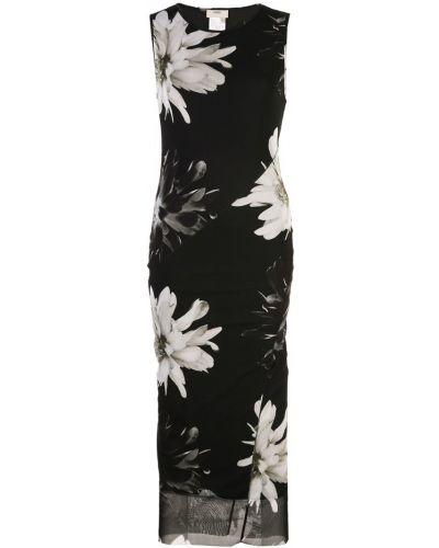 Платье миди с цветочным принтом с вырезом Fuzzi