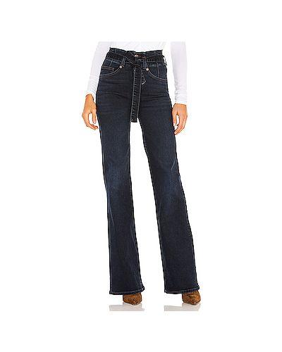 Хлопковые синие джинсы с карманами на пуговицах Veronica Beard