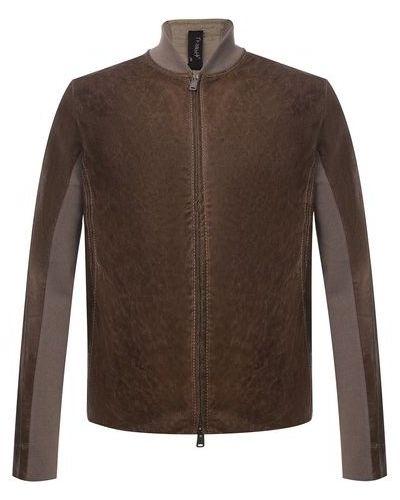 Комбинированная коричневая кожаная куртка Transit