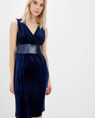 Вечернее платье осеннее синее Gregory