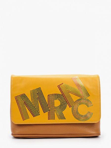 Коричневая кожаная сумка с перьями из натуральной кожи Marina Creazioni