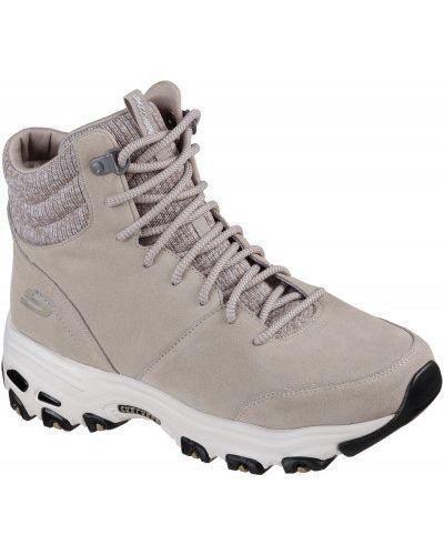 Кожаные сапоги на шнуровке теплые Skechers