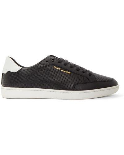 Skórzany czarny sneakersy perforowany zasznurować Saint Laurent