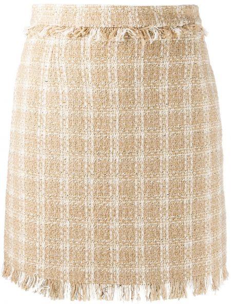 Прямая с завышенной талией юбка мини с бахромой на молнии Msgm