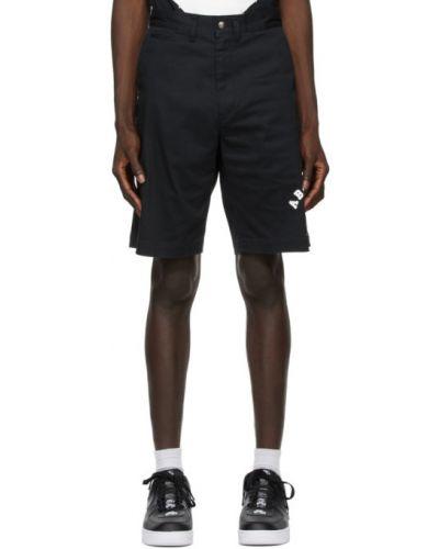 Черные джинсовые шорты с карманами с заплатками Bape