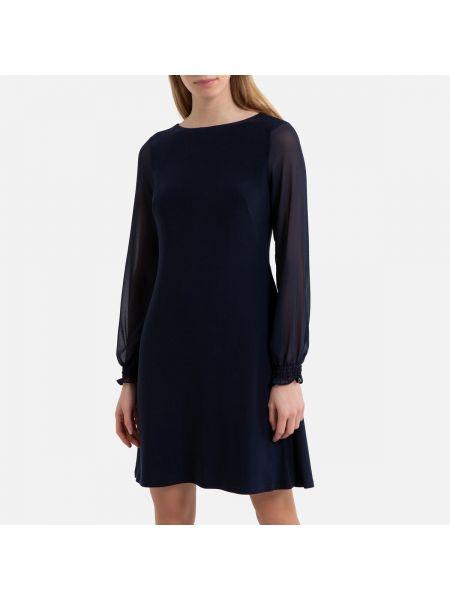 Платье миди с прозрачными рукавами прямое La Redoute