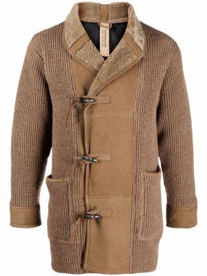 Beżowy długi płaszcz skórzany Giorgio Brato