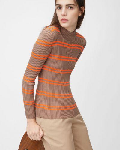 Pomarańczowy sweter w paski bawełniany Marc O Polo