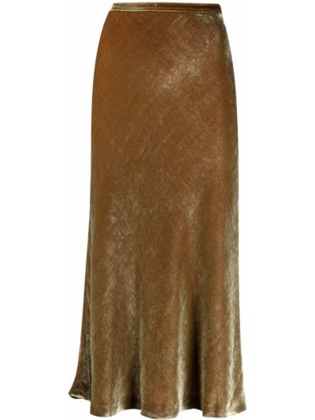 Коричневая шелковая с завышенной талией юбка миди Maison Margiela