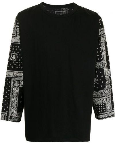 Czarny t-shirt z długimi rękawami bawełniany Sophnet.