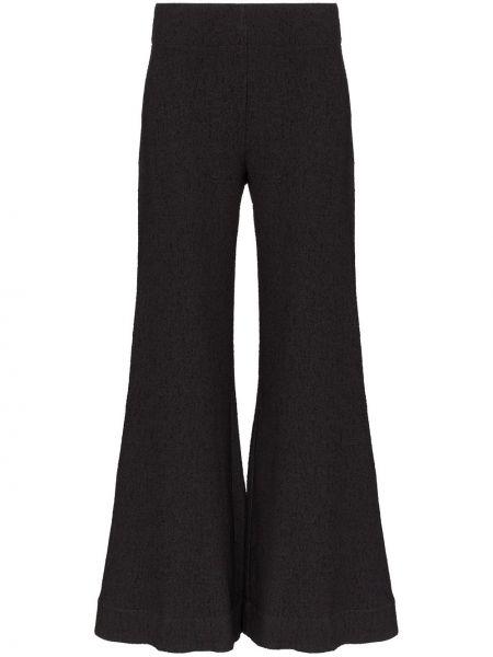 Черные расклешенные свободные брюки Deitas
