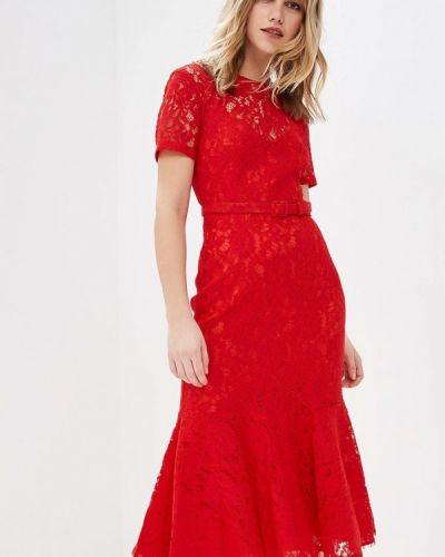 Вечернее платье осеннее красный Lusio