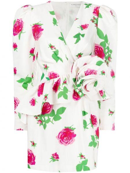 Платье мини в цветочный принт - белое Alessandra Rich