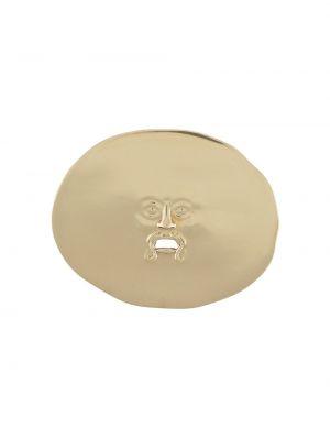 Золотистая желтая брошь металлическая с тиснением Patou