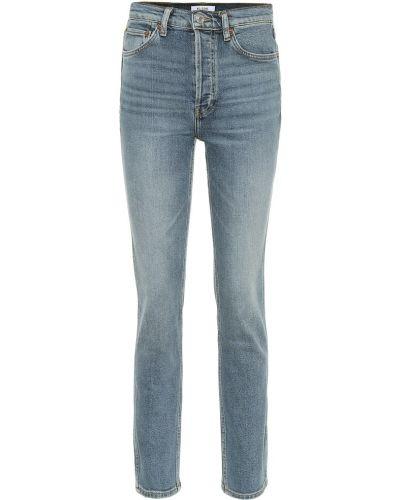 Bawełna bawełna niebieski jeansy na wysokości chudy Re/done