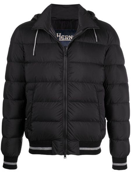 Puchaty czarny długa kurtka z kieszeniami z długimi rękawami Herno