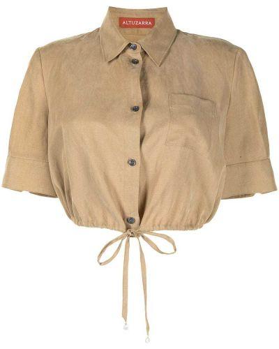 Коричневая хлопковая классическая рубашка с короткими рукавами Altuzarra