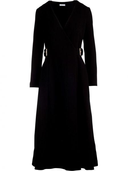 Расклешенное шерстяное черное платье миди Rosetta Getty