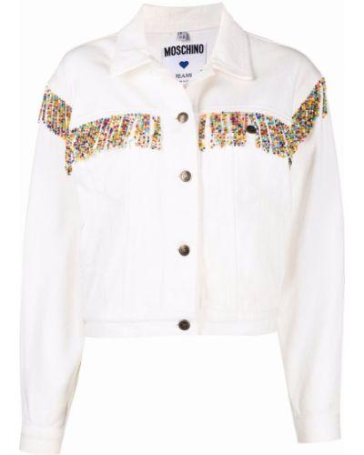 Белая куртка длинная Moschino Pre-owned