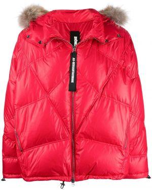 Куртка с капюшоном из енота мятная свободного кроя As65