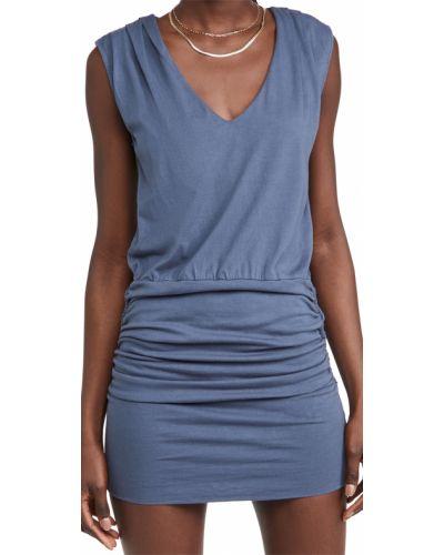 Sukienka z dekoltem w serek - niebieska Monrow