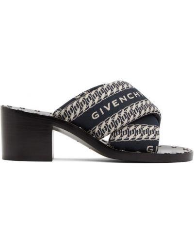 Skórzany czarny sandały na pięcie okrągły Givenchy
