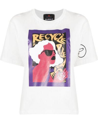 Хлопковая белая футболка с вырезом Peuterey