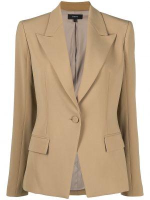 Коричневый удлиненный пиджак для полных с карманами Theory