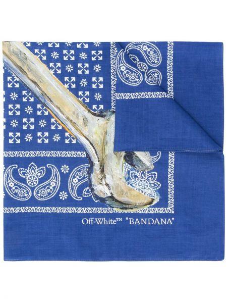 Niebieski szalik bawełniany z printem Off-white