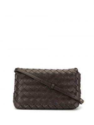 Кожаная коричневая сумка через плечо с перьями Bottega Veneta