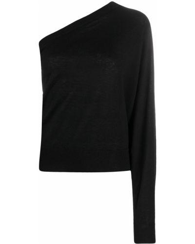 Кашемировый прямой черный вязаный джемпер в рубчик Iro