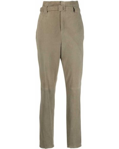 Зауженные зеленые кожаные брюки Simonetta Ravizza