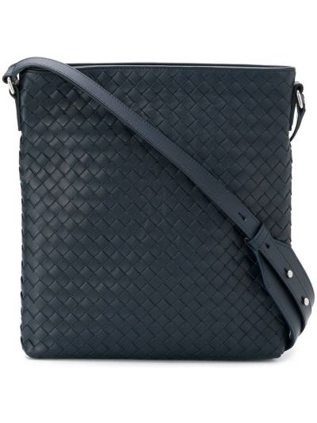 Кожаная синяя плетеная сумка на плечо на молнии Bottega Veneta