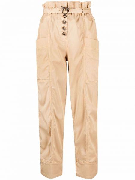 Хлопковые бежевые чиносы с карманами Pinko