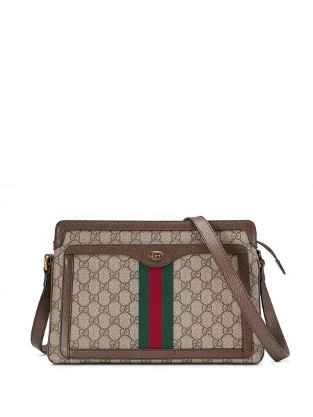 Skórzana torebka średnia z płótna Gucci