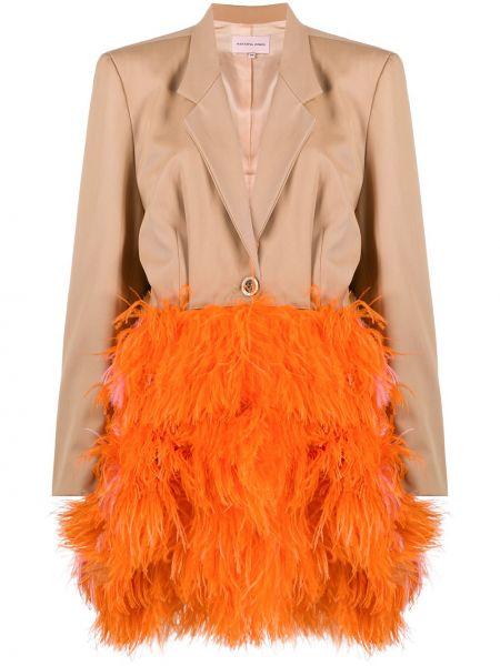 Коричневое шерстяное длинное пальто на пуговицах Natasha Zinko
