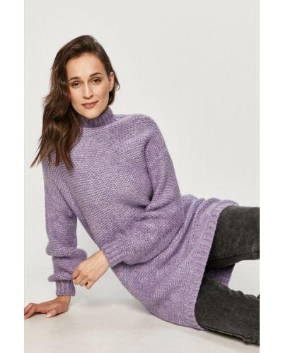 Fioletowy sweter wełniany z długimi rękawami Answear Lab