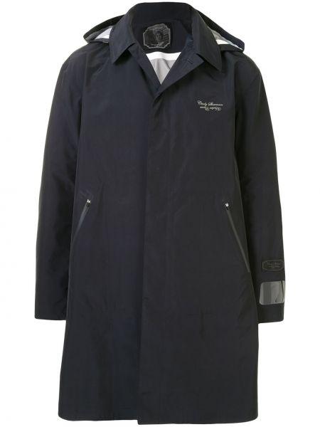 Niebieski płaszcz przeciwdeszczowy z długimi rękawami z haftem Undercover