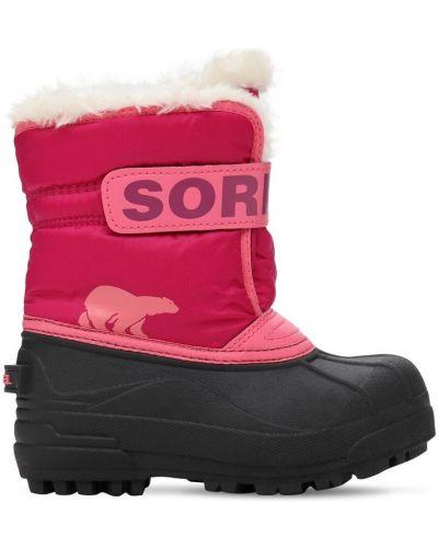 Różowy nylon buty prążkowany na hakach Sorel
