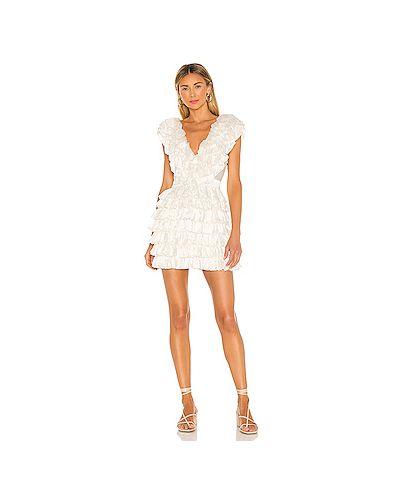 Белое платье мини на молнии из вискозы с подкладкой Majorelle