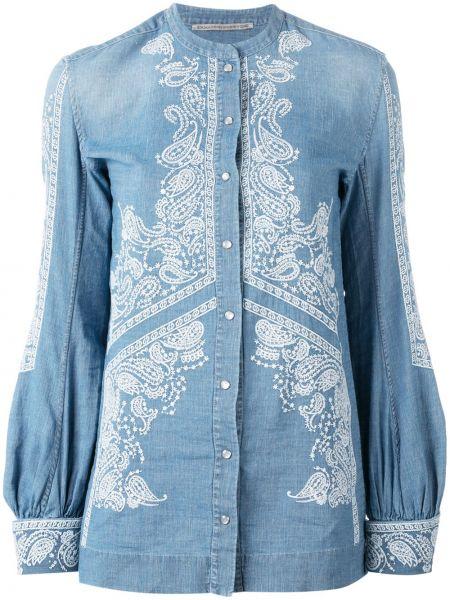 Синяя с рукавами джинсовая рубашка с воротником-стойка Ermanno Scervino