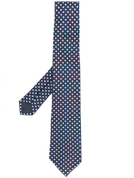 Шелковый синий галстук Emporio Armani