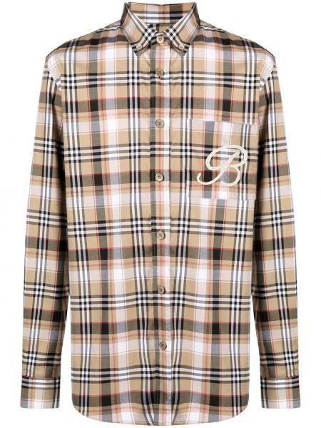 Bawełna z rękawami koszula z haftem z mankietami Burberry