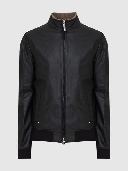 Кожаная куртка с мехом - черная Stefano Ricci