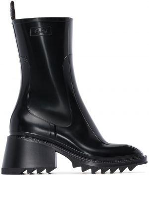 Ботинки на каблуке черные Chloé
