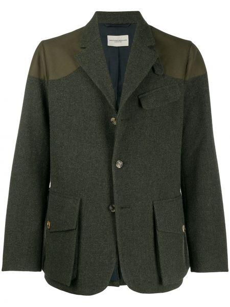Зеленый классический пиджак с заплатками на пуговицах с лацканами Holland & Holland