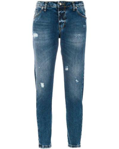 Синие хлопковые джинсы слим фит John Richmond